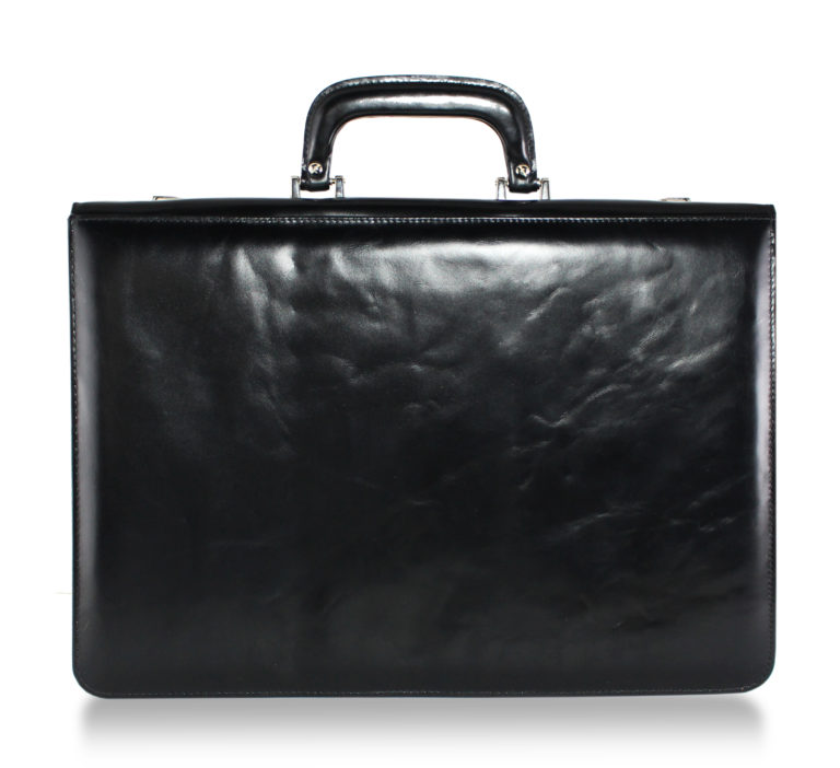 Voltaire Litigation Briefcase Black Marbled back