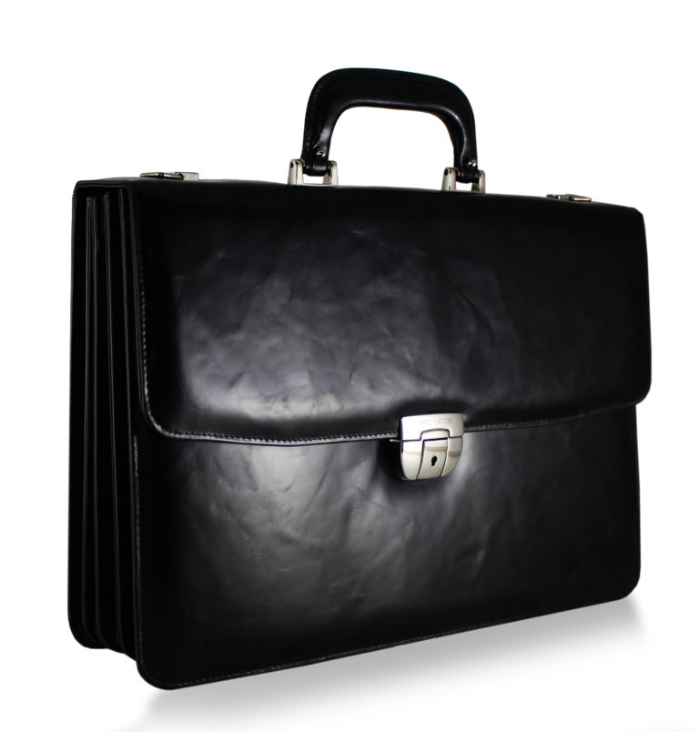Voltaire Litigation Briefcase Black Marbled side